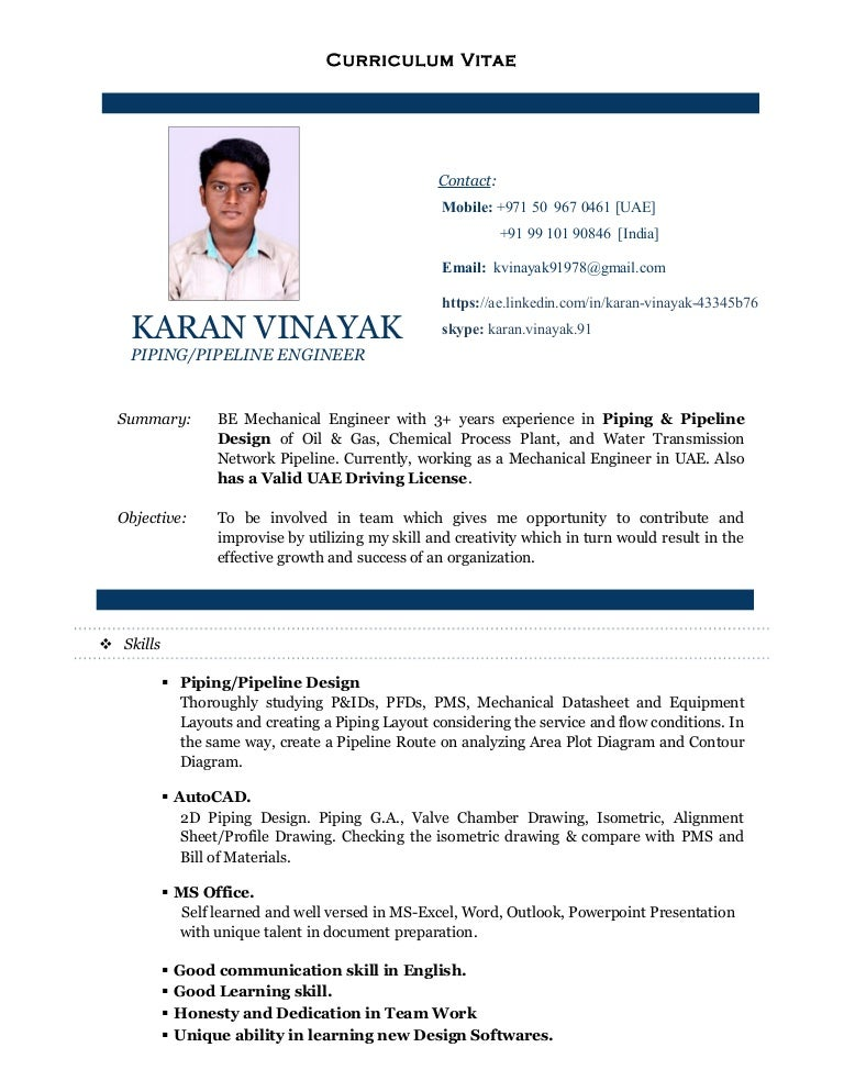 Cv Of Karan Vinayak Piping Design Engineer