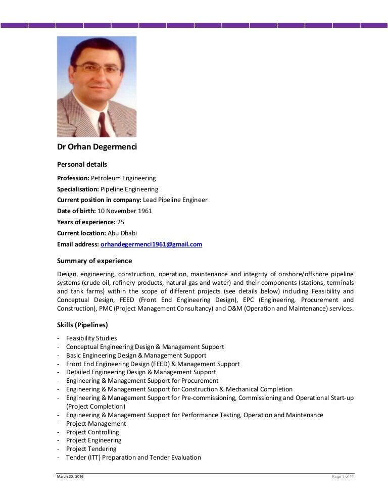 Cv Mr Orhan Degermenci Lead Pipeline Engineer