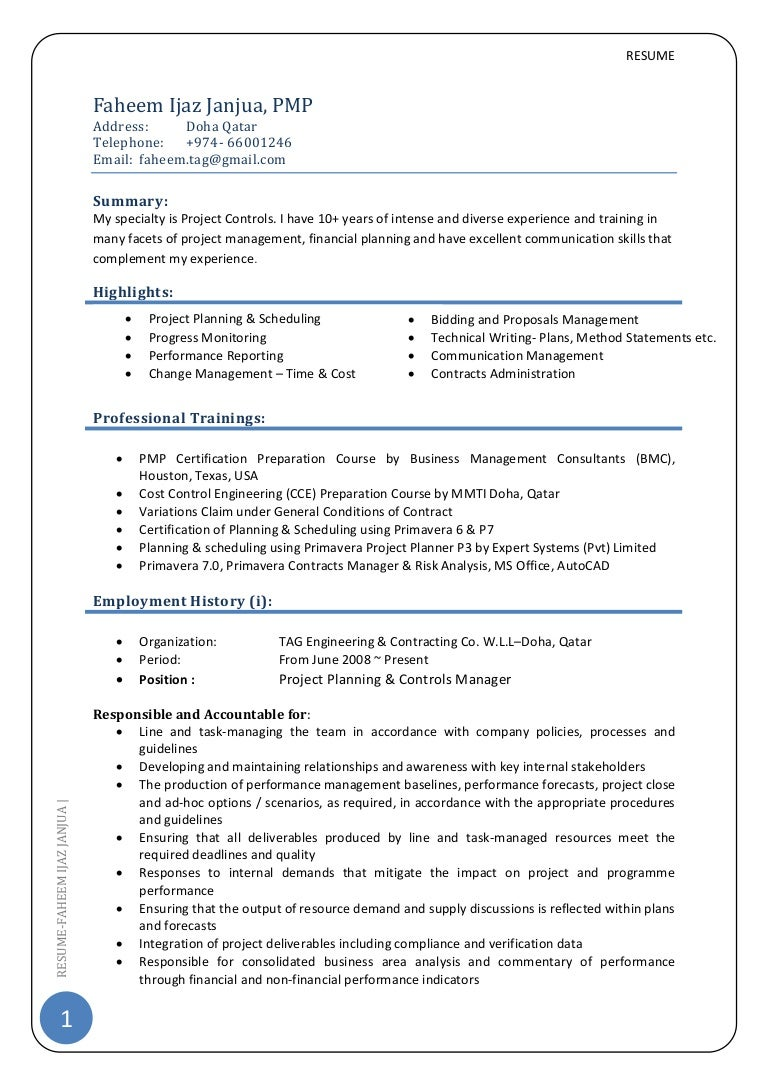Cv Project Control Manager Pmp