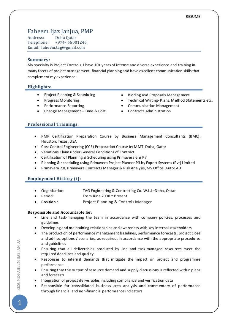 Pmp certified resume india enchanting it project management cv project control manager pmp xflitez Images