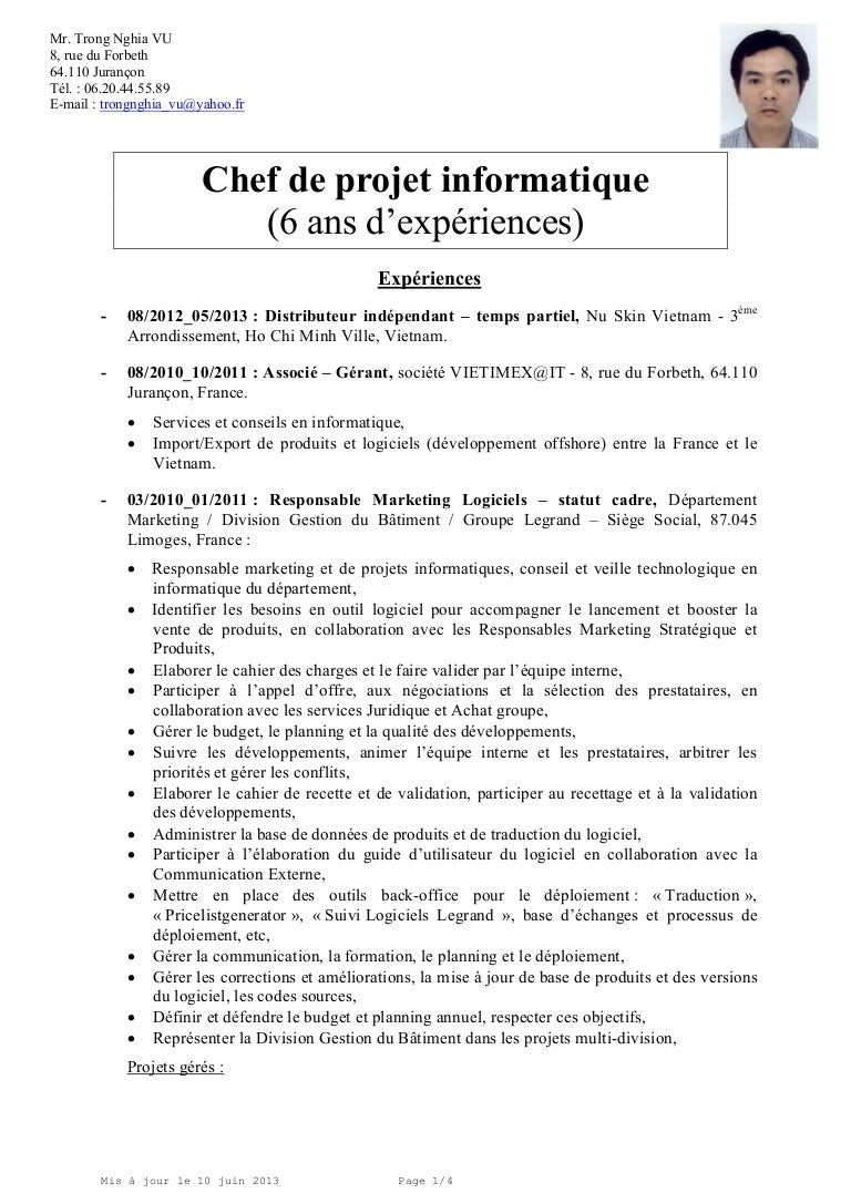 exemple de cv charge des methodes outils et qualite en informatique