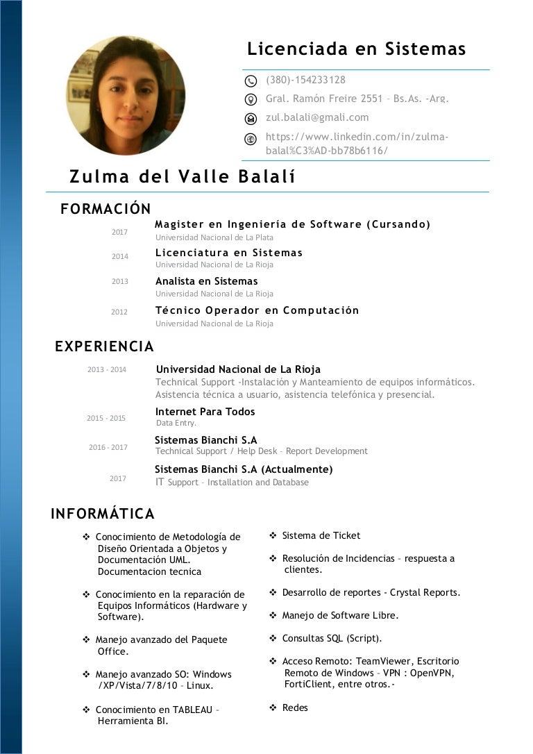 Atractivo Curriculum Vitae De Analista De Sistemas Modelo - Ejemplo ...