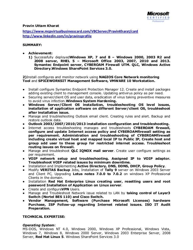 Windows System Administrator Resume Doc Vosvetenet – Linux Resume Format