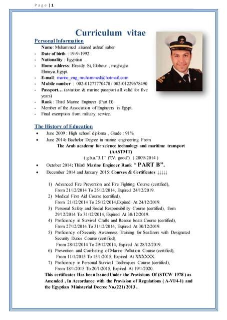 career in marine engineering - Merchant Marine Engineer Sample Resume