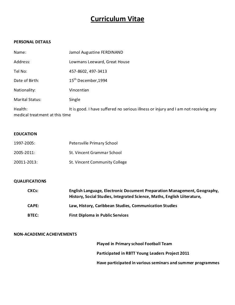 curriculum vitae format examples