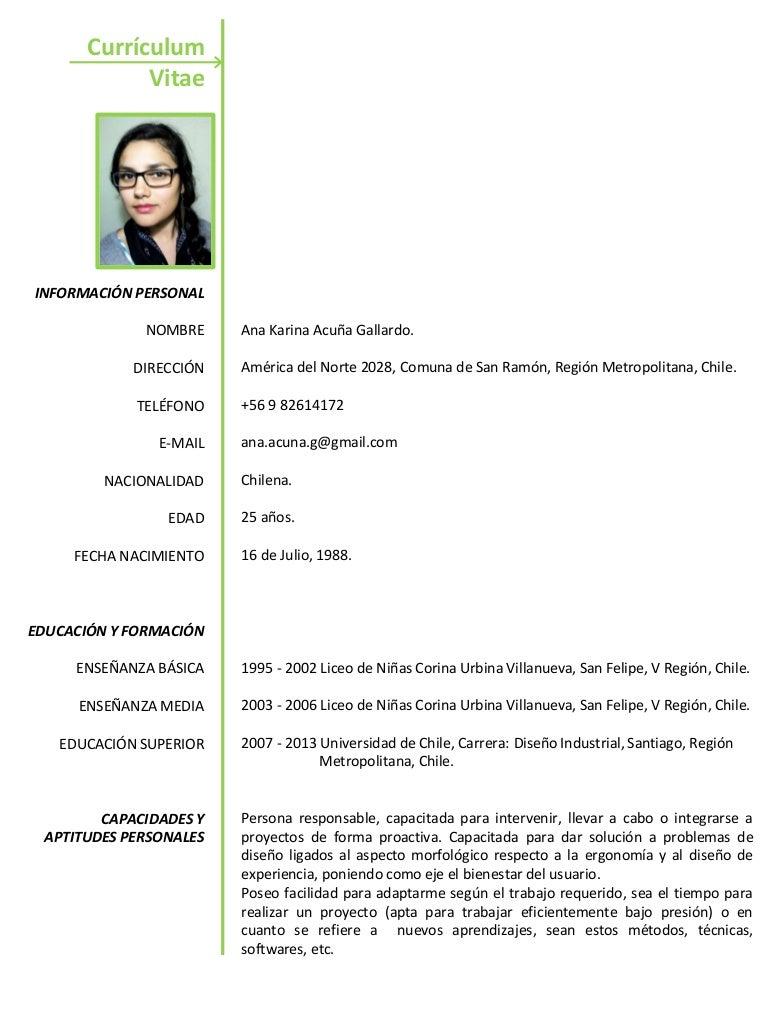 Currículum Vitae Ana Acuña Gallardo