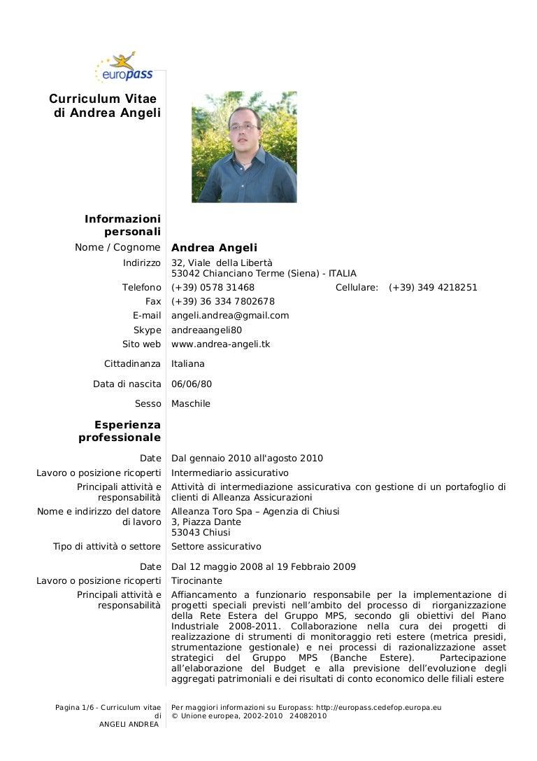 Curriculum Vitae Andrea Angeli