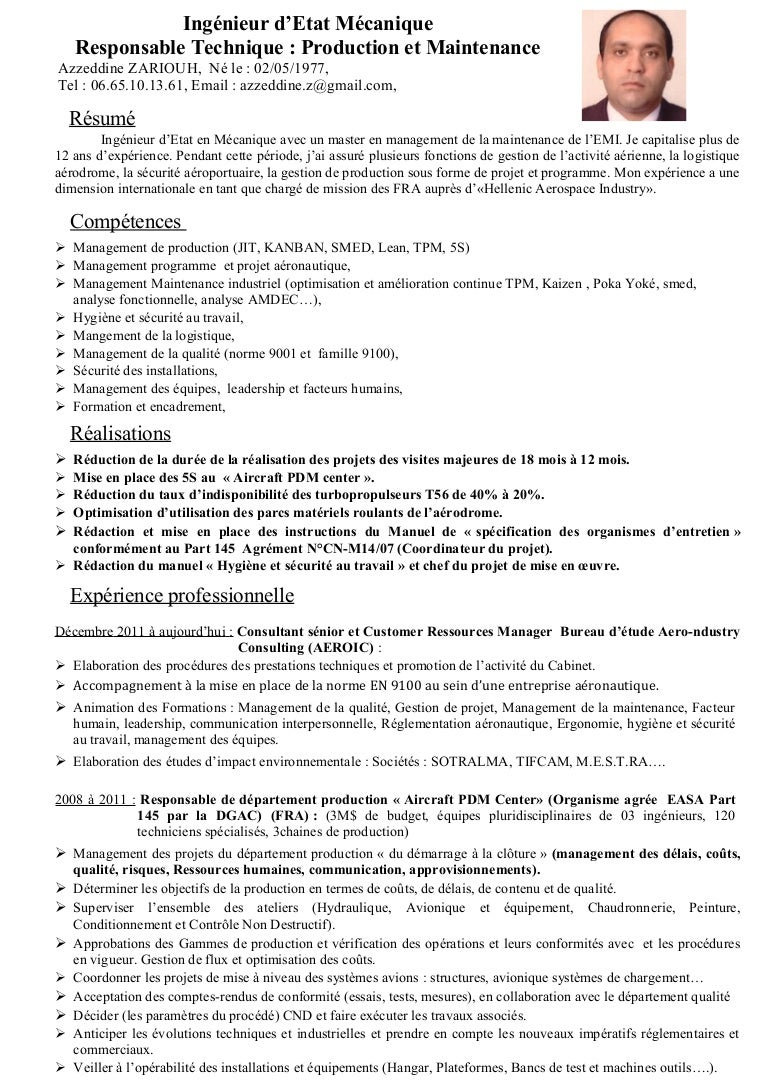 exemple de cv ingenieur maintenance aeronautique