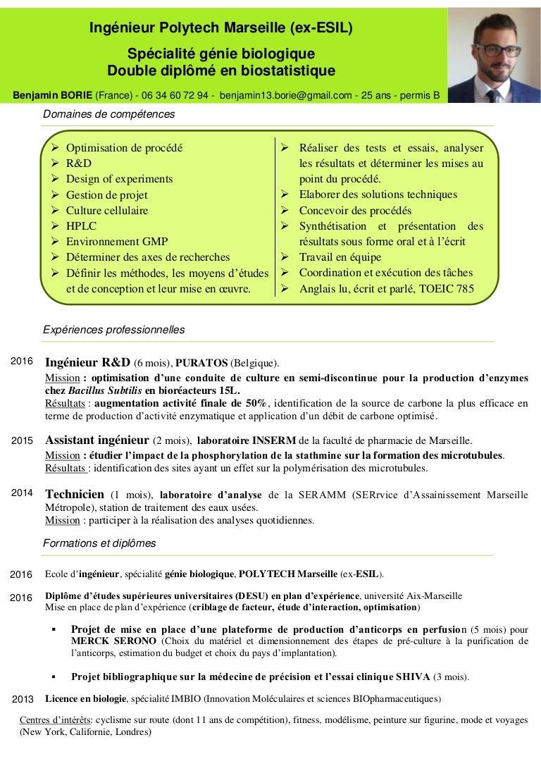 cv ing u00e9nieur biotechnologie
