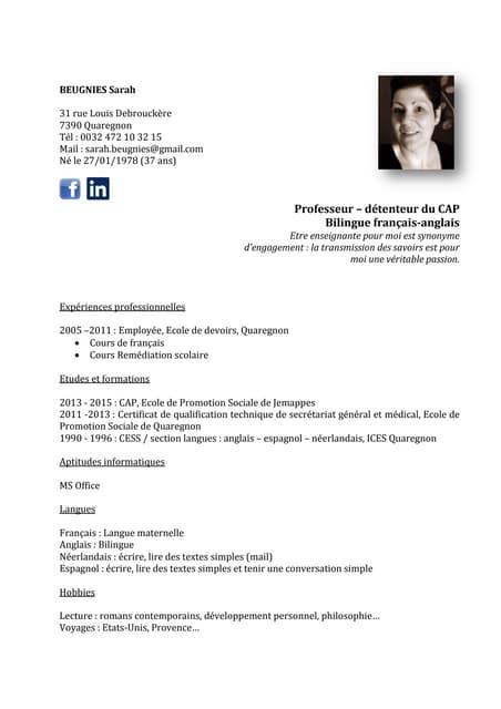 Cv Marion Chaillet Prof Esl Fle Lettres
