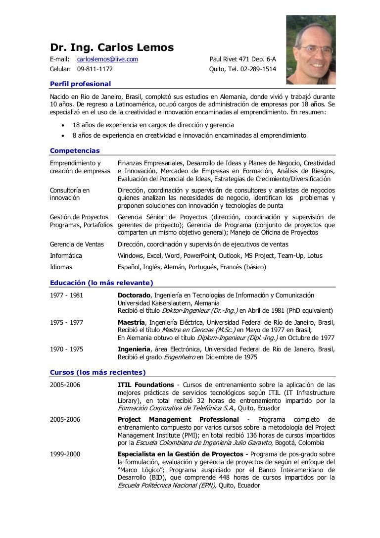 Curriculum Vitae de Carlos Lemos en Español