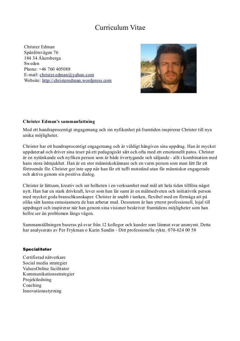 cv christer edman swedish
