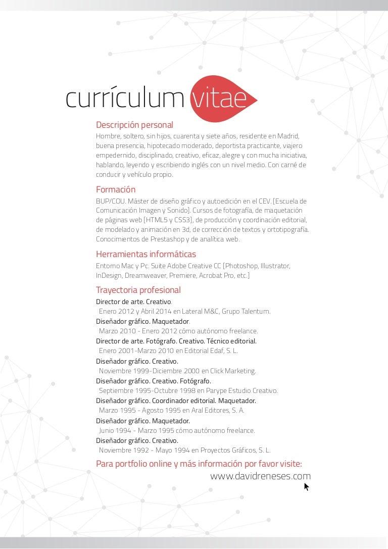 Currículum David Reneses. Director de arte. Diseñador gráfico. Diseña…