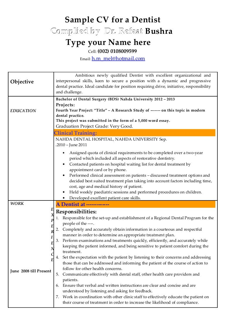sample dentist resumes converza co