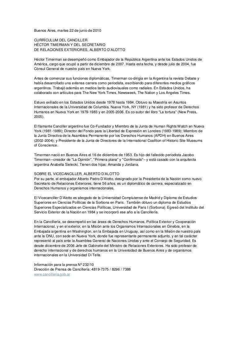 CV de Timerman distribuído por la Cancillería
