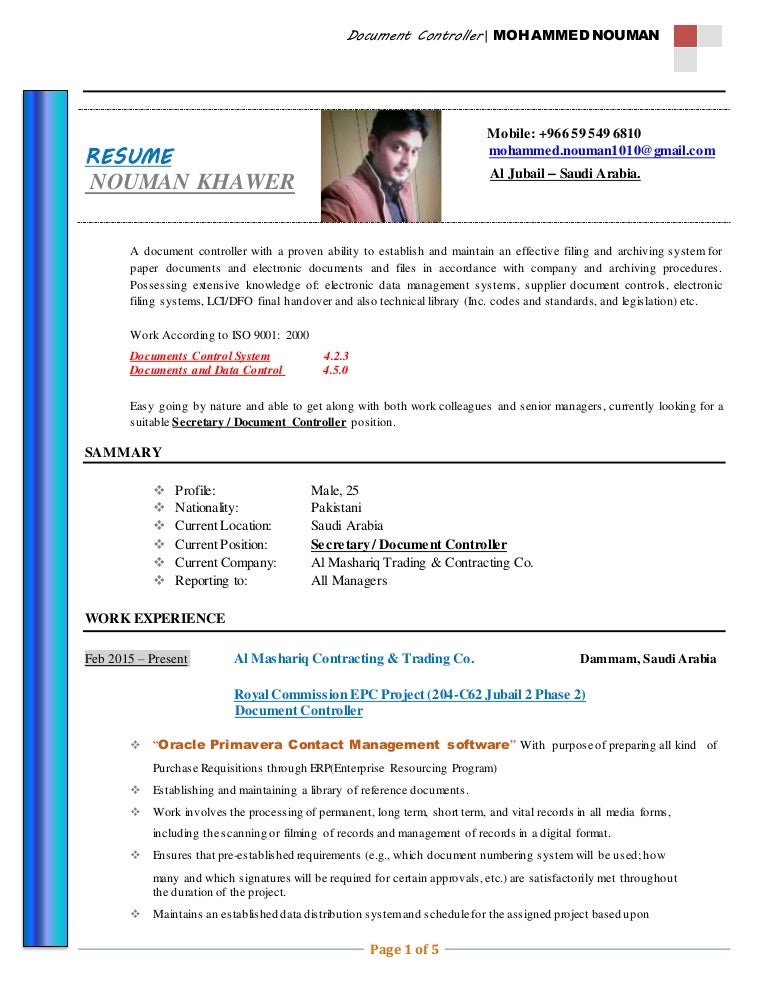 CV Document Controller (Nauman Khawar)