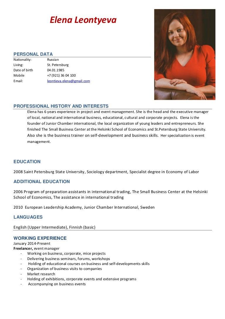 cv and portfolio event manager elena leontyeva
