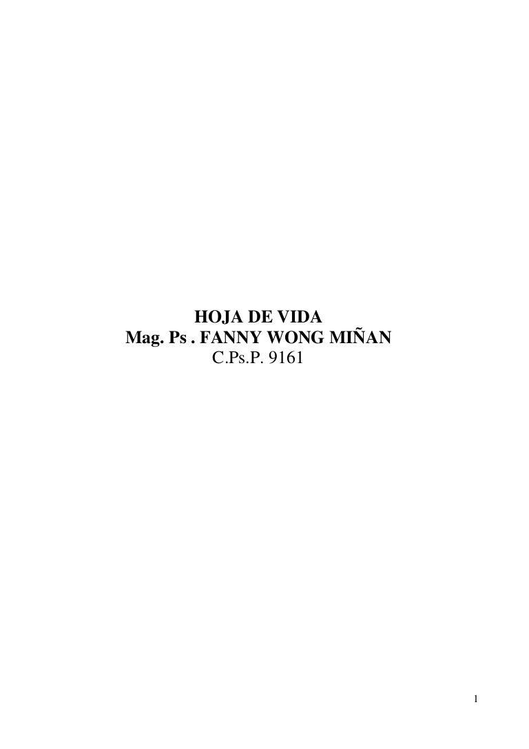 CV DE MAG. PS. FANNY WONG MIÑAN C.PS.P. 9161 15-03- 2012-1