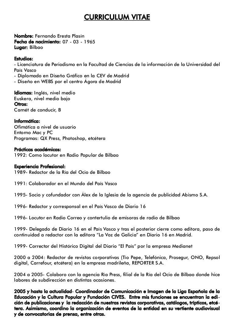 Currículum Vitae Fernando Eresta