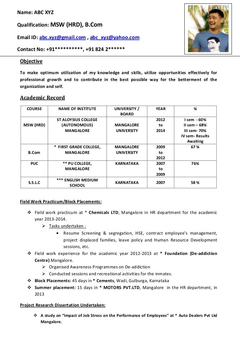 resume format for freshers word