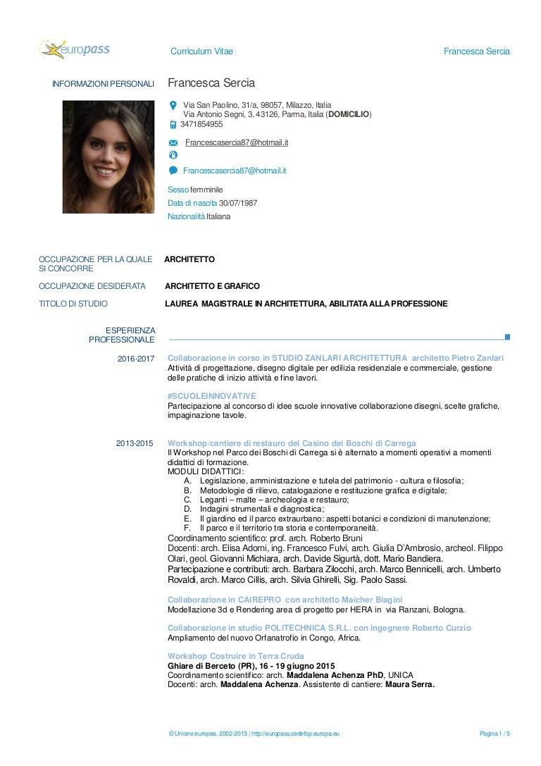 Cv Francesca Sercia