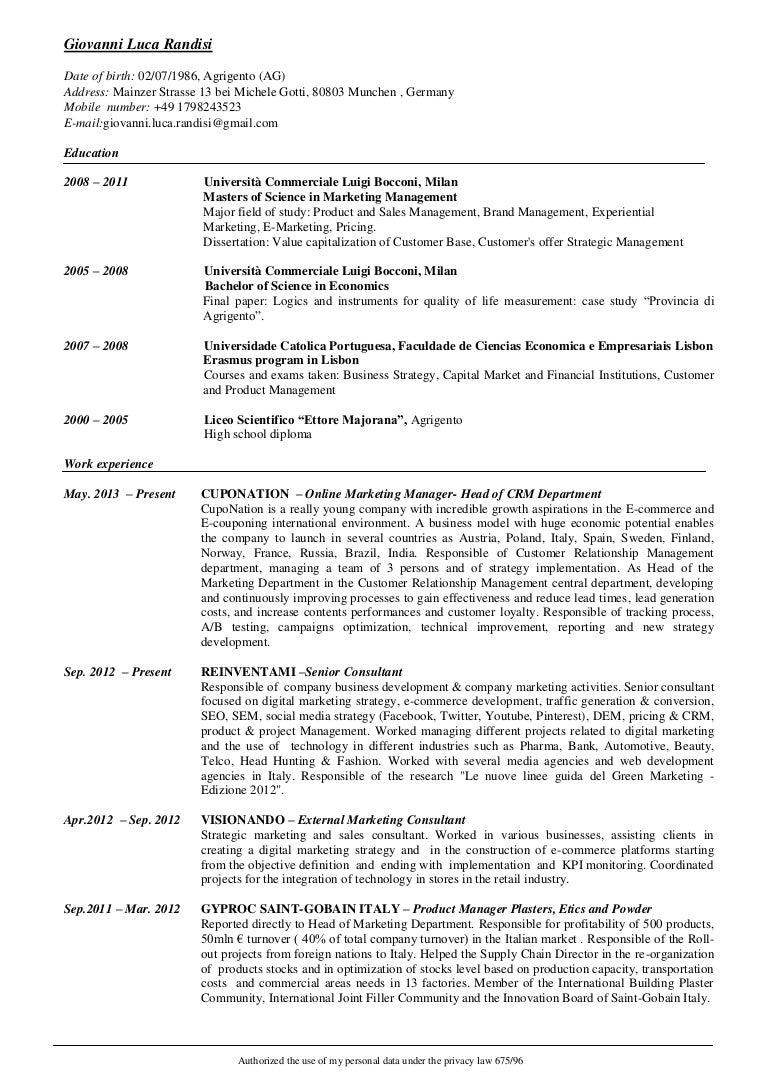 Cv Giovanni Luca Randisi Curriculum Vitae English Version 2014