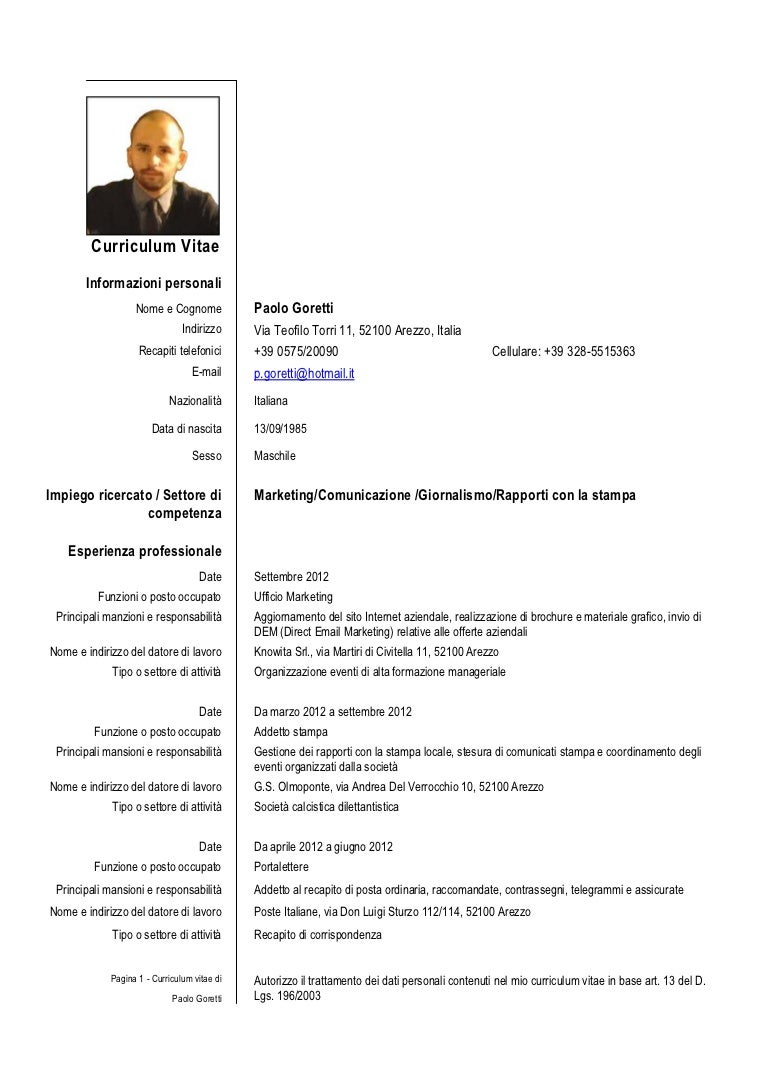 Cv Goretti Italiano. Resume Maker Easy. Curriculum Vitae Europeo Latex. Resume Maker In Ahmedabad. Curriculum Vitae Download Gratis Pdf. Cover Letter Sample For Computer Teacher. Letter Format Upsr. Letter Of Resignation Upset. Curriculum Vitae Hoja De Vida Ejemplo