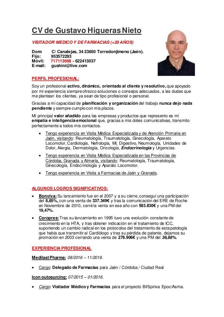 CV Gustavo Higueras Nieto / Visitador Médico y de Farmacias