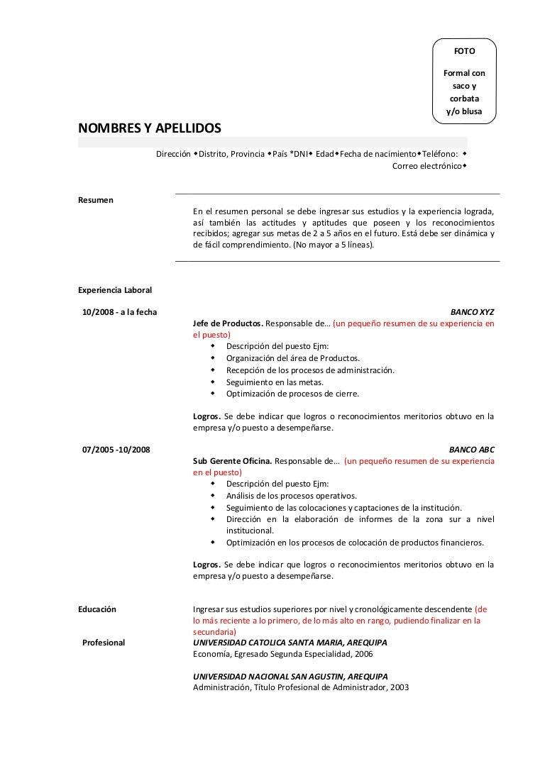 Fantastic Curriculum Resumen Personal Photos - Entry Level Resume ...