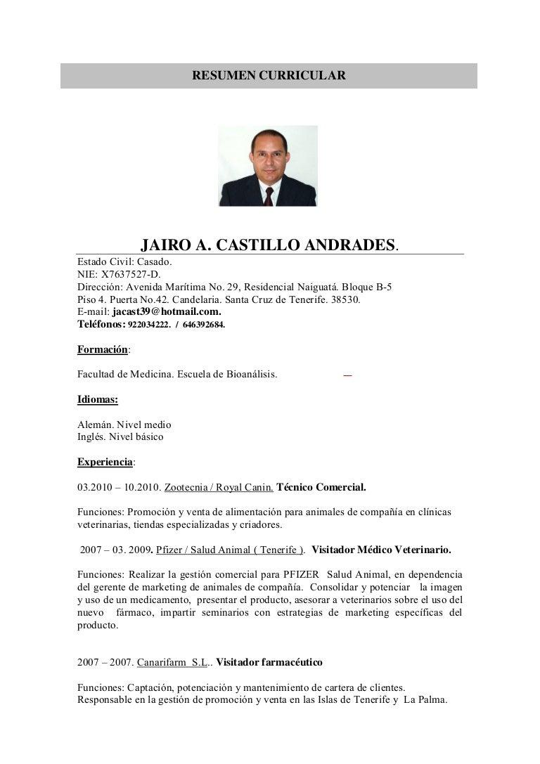 Asombroso Escribir Curriculum Vitae Para Veterinarios Molde ...
