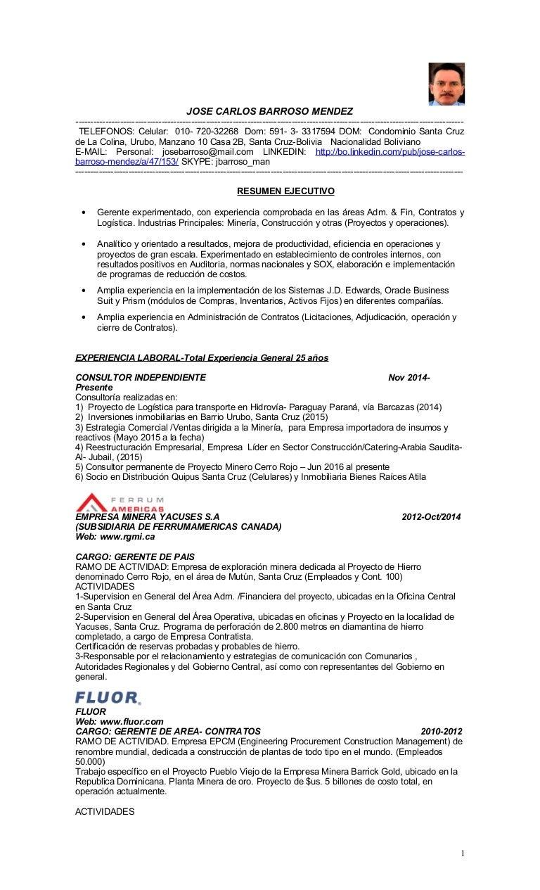 CV ESPANOL JOSE BARROSO 2016