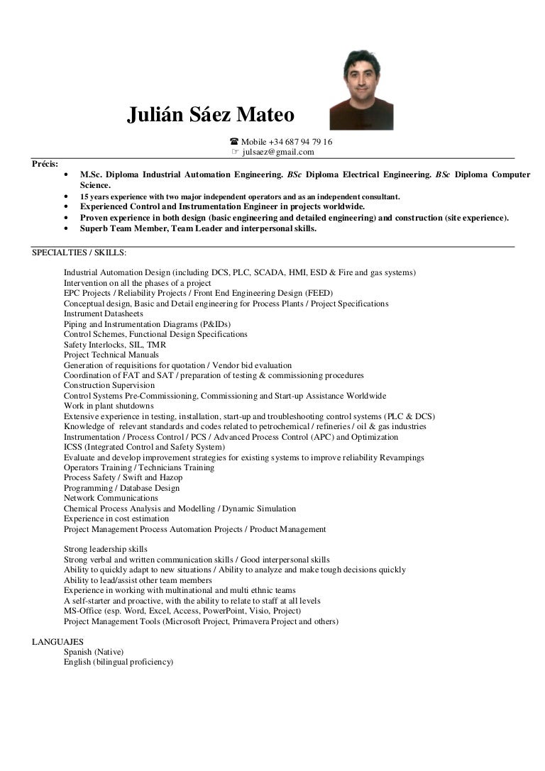 Automation Engineer Resumes. Cv Julian Saez .