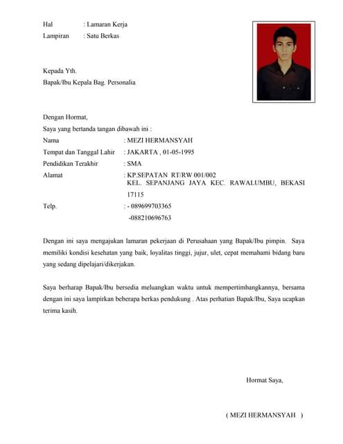 Surat Lamaran Cv Lampiran