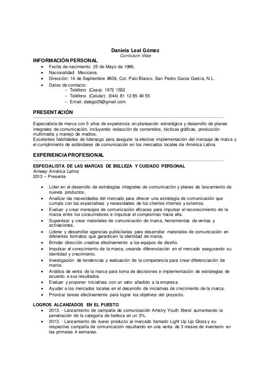 Currículum Vitae Daniela Leal