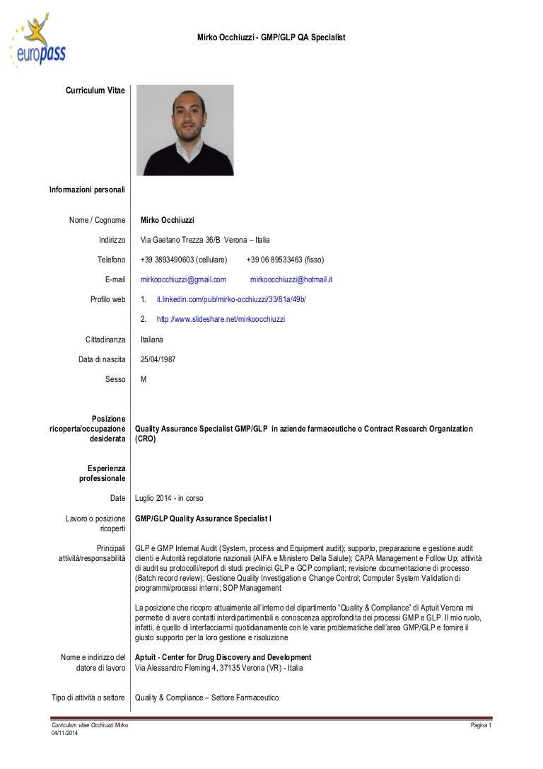 Cv Mirko Occhiuzzi Quality Specialist 04 11 2014