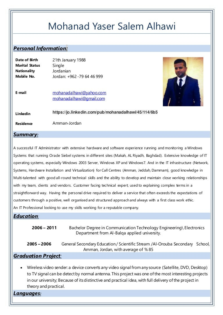 Cv mohanad alhawi IT support administrator 2016