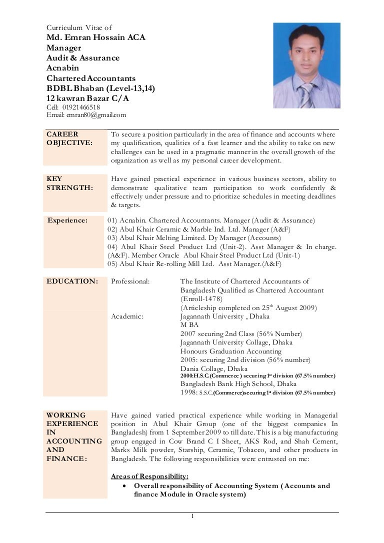 Unusual Curriculum Vitae Chartered Accountant Contemporary Entry