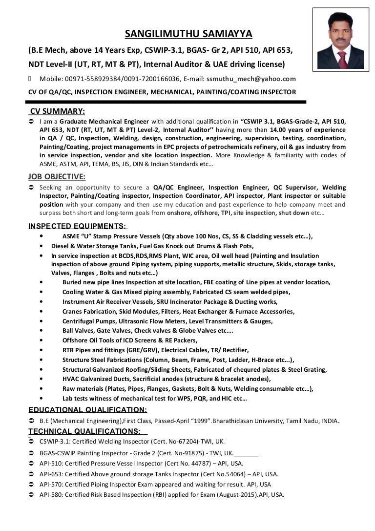 Cv of qaqc  inspection engineer