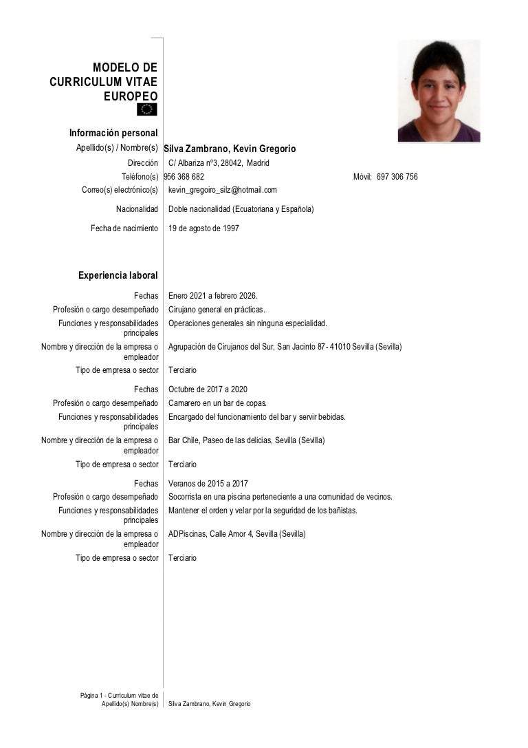 Curriculum Vitae de un alumno.