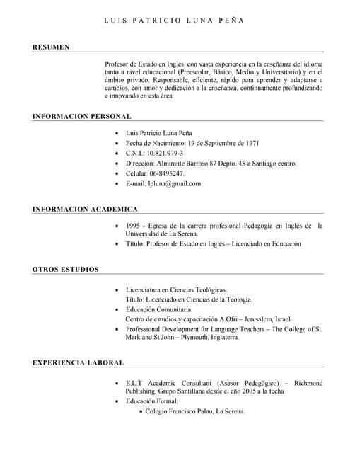 Curriculum Em Ingles