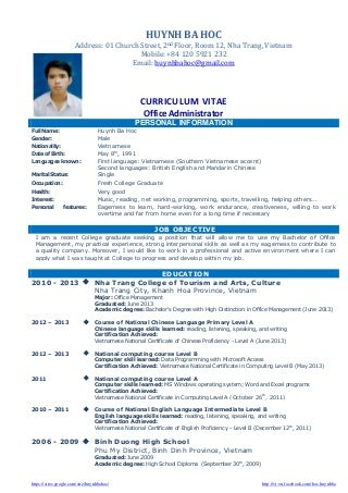 Sample Resume For Fresh Graduate Singapore