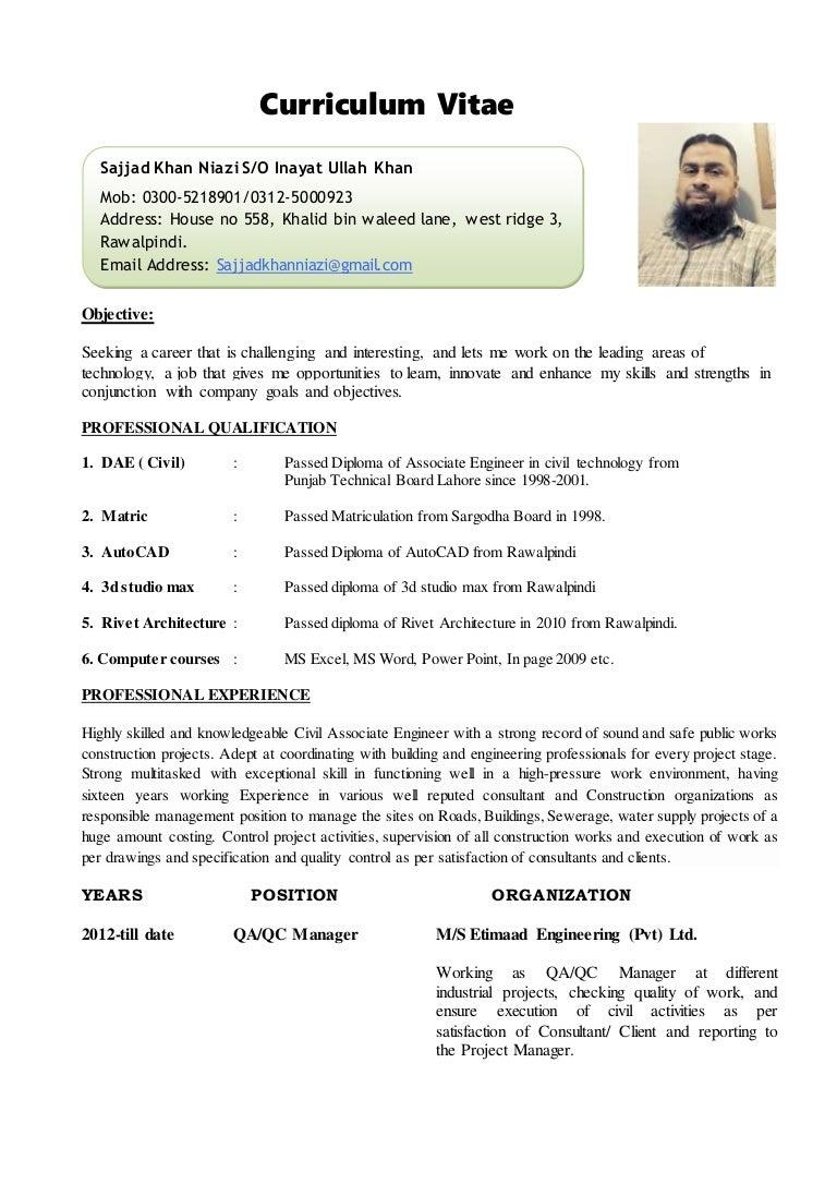 cv sajjad khan  construction manager  civil