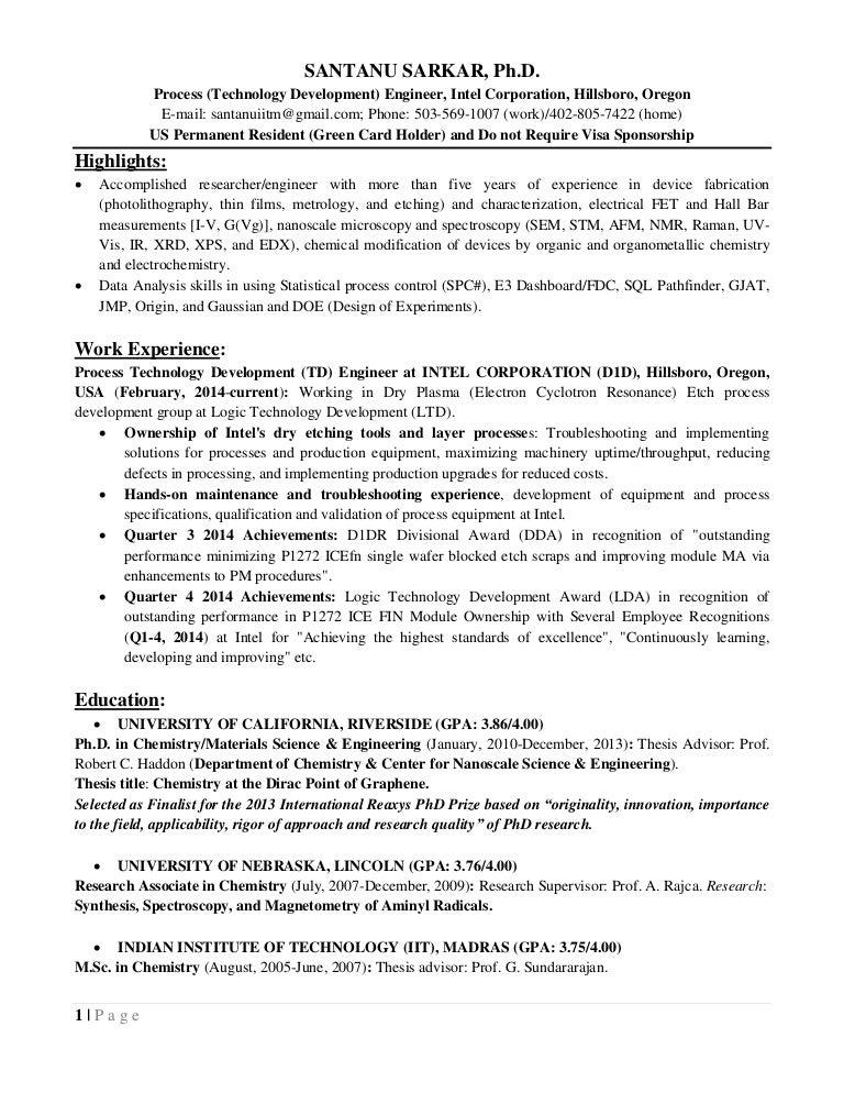 cv sarkar santanu_ucr_intel_process_integration_yield_quality_realiab - Intel Process Engineer Sample Resume