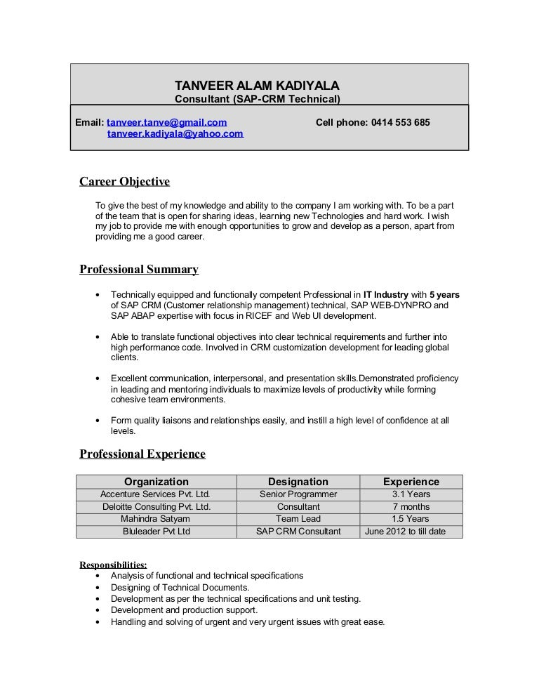 Sap Abap Resume Sample | Resume CV Cover Letter