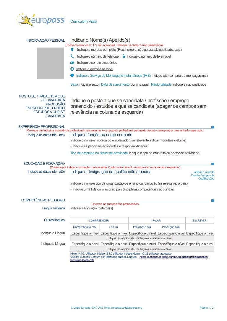 modelo de curriculum vitae europeu  word