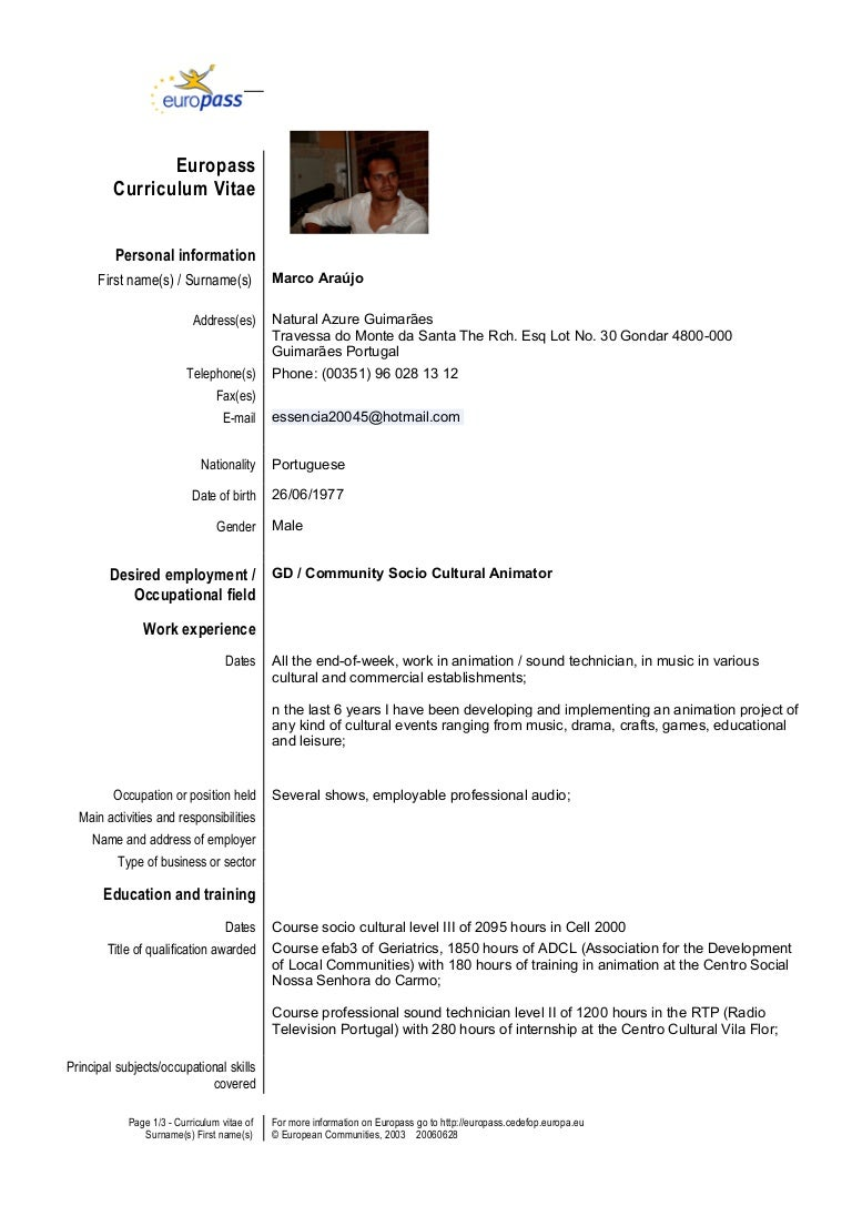 Europass cv samples idealstalist cv template en gb marco yelopaper Image collections