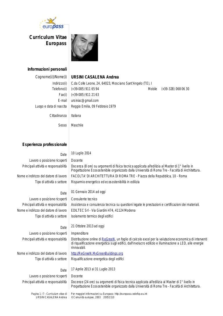 Ursini Casalena Andrea CV Curriculum Vitae