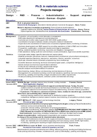 Chemical engineer phd resume