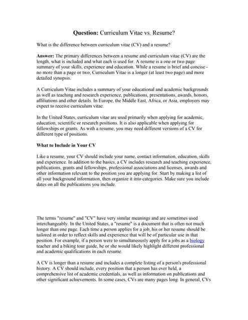 Difference Between Resume Cv Amp Biodata