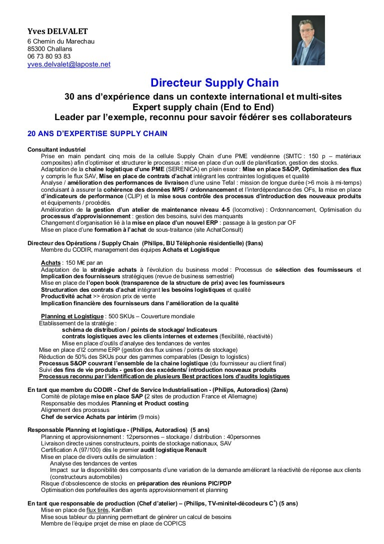 cv y delvalet dir supply chain